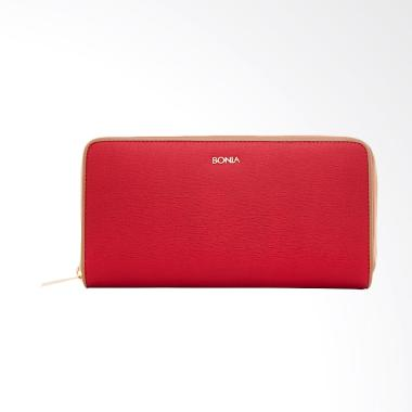 Bonia Leather Zip Purse Dompet Wanita - Carmine