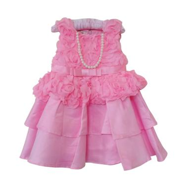 GBS Pink Rose Dress With Neklace
