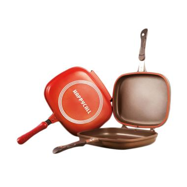 Happycall Double Fry Pan Pemanggang ... iller Besar - Red [32 cm]