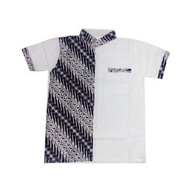 Jogjakhas Hem Koko Motif 6 Kemeja Batik Anak - Putih