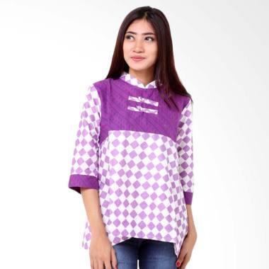 Batik Distro BA8345 Blus Wanita Shanghai Embos - Ungu