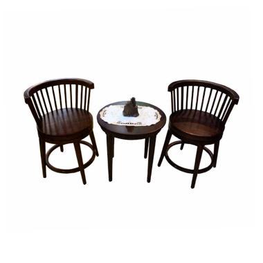 Sen Furniture Tiffanny Tab Chair Set Kursi dan Meja - Coklat