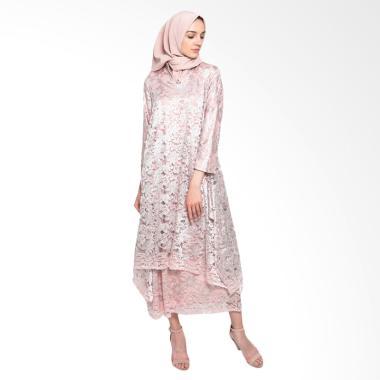 Kasa Heritage Safina Long Dress Gamis Wanita - Pink Silver