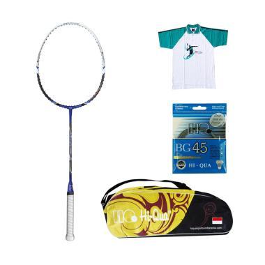 Hi-Qua Paket Araso Pro 5 Peralatan Badminton [Senar BG45/Tas HQ/Kaos HQ]