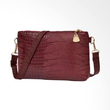 Lansdeal Fashion Crocodile Pattern Small Sling Bag Wanita - Maroon