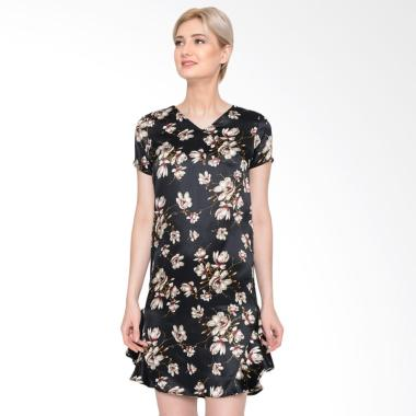 Agatha 4695.D Flower Shift Dress - Black