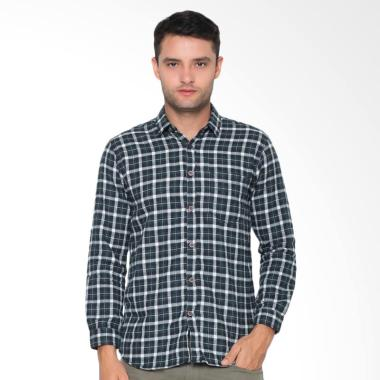 FBW Spencer Long Sleeve Roll Up Flanel Shirt Kemeja Pria - Hijau