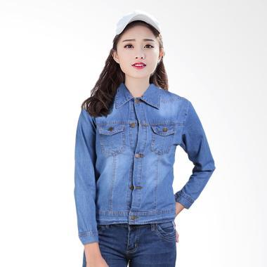 Terbaru. Jfashion Washed Jaket Jeans Tangan Panjang Wanita ... 7be85bd3b2