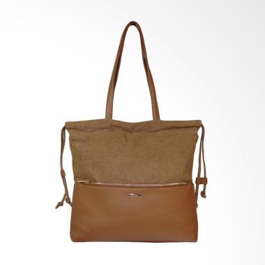 Bellezza 61539-01 PU dan Fabric Bag Tas Wanita - Brown