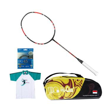 Hi-Qua Paket Nano Speed 80 Peralatan Badminton [Senar BG45/Tas/Kaos]
