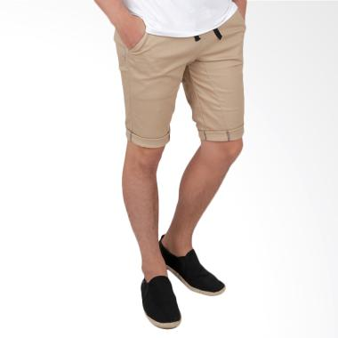 Elfs Shop Short Jogger Pants Simple ... elana Pendek Pria - Khaki