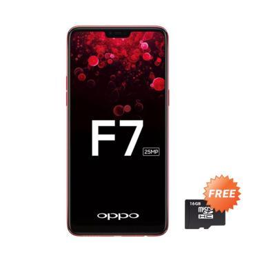 OPPO F7 Smartphone - Red [64GB/4GB] + Free MMc 16 GB