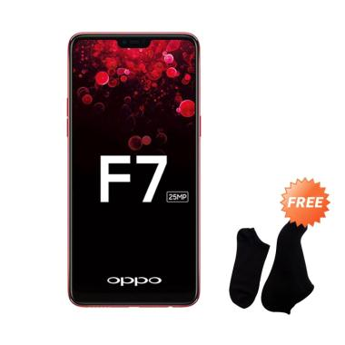 OPPO F7 Smartphone - Red [64 GB/ 4 GB] + Free Kaos Kaki 7 Pasang