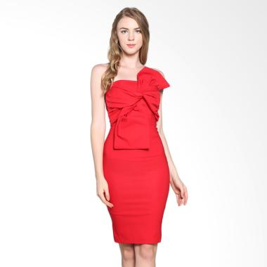 Onnea Front Bow Tube Dress - Red