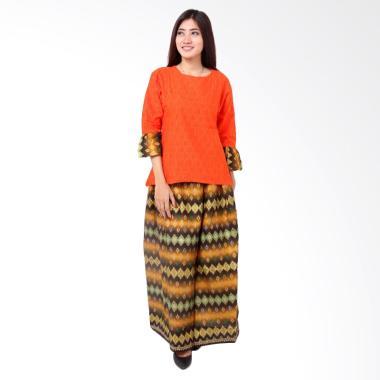 Batik Distro BA8380 Blus Rok Embos Pendek Set Pakaian Wanita - Orange