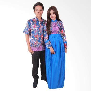 Batik Putri Ayu Solo SRG107 Batik Sarimbit Gamis Batik Couple - Biru