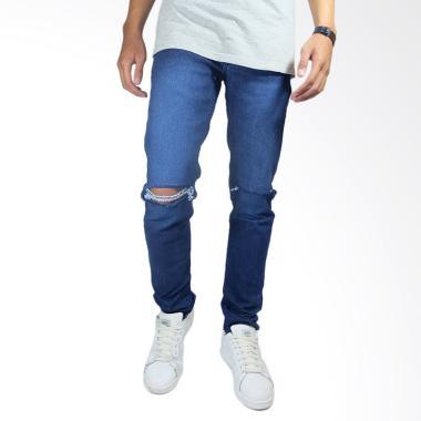 NHS Wear Ripped Celana Jeans Pria - Biru