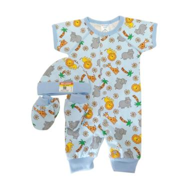 MOMO BB Lucky Animal Jumper Set Pakaian Bayi - Biru