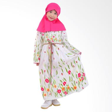Jesca and Paul Layla 220 Gamis Baju Muslim Anak - White