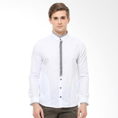 LGS Motif Abu Slim Fit Baju Koko Pria - Putih [JSH.383.S807KF.237.C]