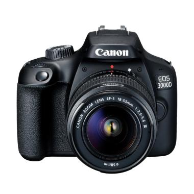 Canon EOS 3000D Kit 18-55mm III Kamera DSLR - Black, Bonus : Thumbler