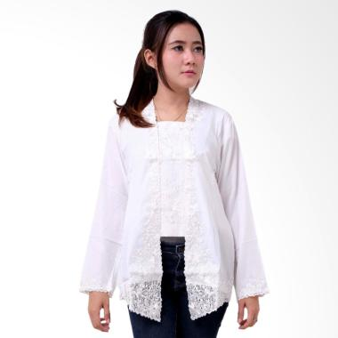 Batik Distro BA9212 Kutu Baru Panjang Kebaya Wanita - Putih