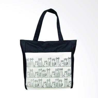 Lansdeal Cartoon Cat Pattern Girls Canvas Tote Bags - Beach Black