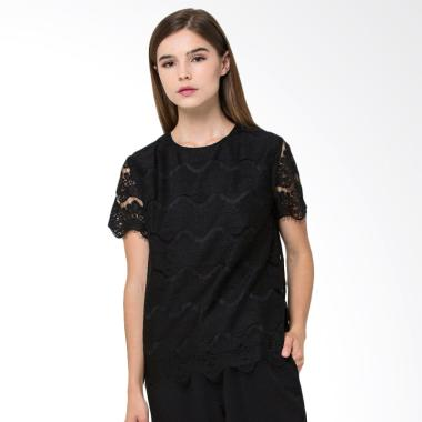 The Executive 5-BSEBBX418A044 Short Sleeve Blouse Wanita - Black