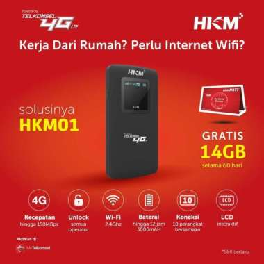 harga HKM 001 HKM001 Modem Mifi Wifi 4G Unlock Free Kuota 14Gb 2Bln Blibli.com