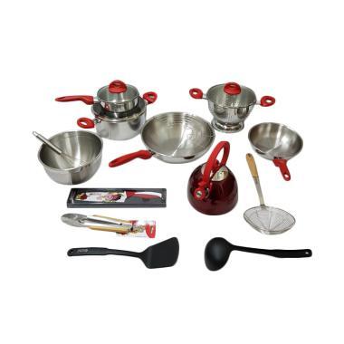 Supra Rosemary Cookware Set Panci - Merah [18 pcs]