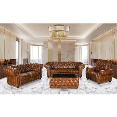 Furnistar Tipe Chester Brown Set Sofa Tamu Minimalis Free Meja Medan