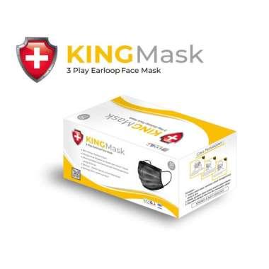 harga MASKER 3 PLY HITAM KINGMASK BLACK 3 PLY KEMENKES AKD RI 1 BOX 50 PCS Blibli.com