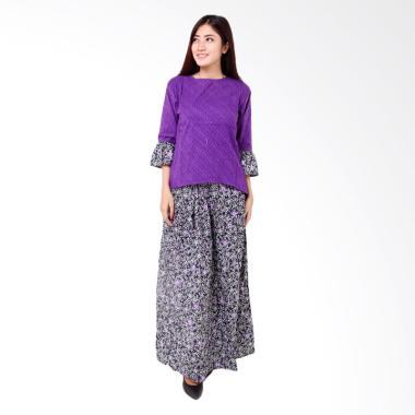 Batik Distro BA8372 Blus Rok Wanita Embos Pendek - Ungu
