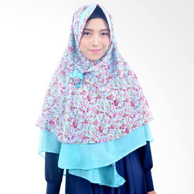 Khimar Sifon Motif Jilbab Instant - Biru Turkis