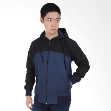 Parasut Water Resistant Hoodie Combination Navy - Hitam