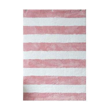 Vision Soft Shaggy Stripes Karpet - Pink Paster White [160 x 220 cm]