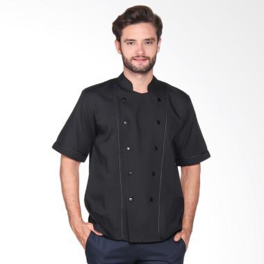 Chef Series Basic Tangan Pendek Baju Koki - Hitam [Size L]