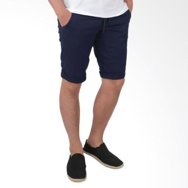Elfs Shop Short Jogger Pants Simple ... endek Pria - Biru Dongker