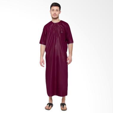 Okechuku Al-Isra Jubah Arabi Pakaian Gamis Pria Lengan Pendek - Maroon