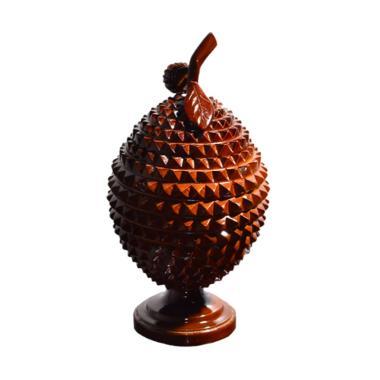 Ngasem Kayu Jati Durian Toples - Solid Brown