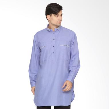 Zayidan Reihan Baju Gamis Muslim Pria - Biru List Abu