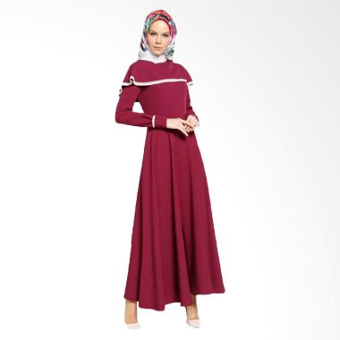 Jfashion Long Dress Maxi Variasi Re ... slim Wanita - Vinka Marun