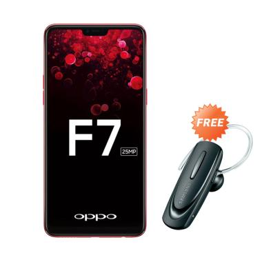 OPPO F7 Smartphone - Red [64 GB/ 4 GB] + Free Headset Bluetooth