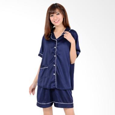 Okechuku Setelan Piyama Pakaian Tidur Wanita - Navy