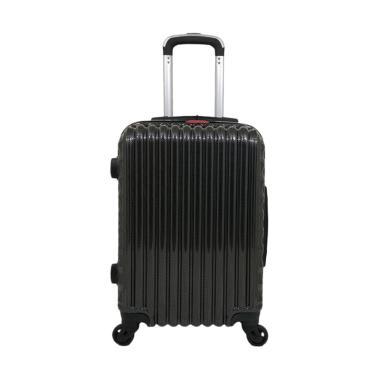 Polo Milano 28156 Hardcase Fiber Polycarbonate Koper - Black [20 Inch]