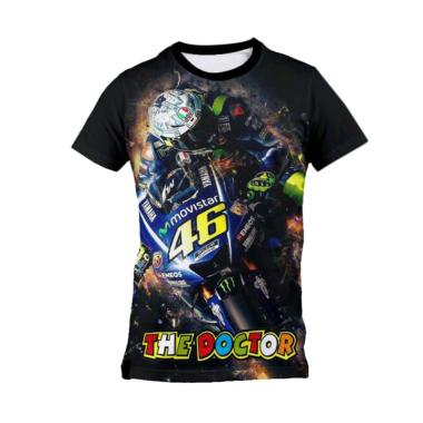 harga Kaos Urban Jersey Moto GP Valentino Rossi VR46 Kaos Olahraga Pria - Hitam [AZ0084] Blibli.com