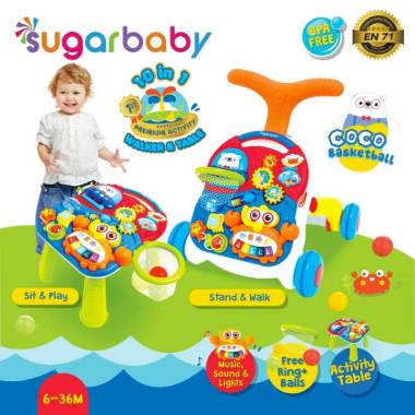 harga Sugar Baby 10in1 Table Coco Basketball Activity Walker Blibli.com