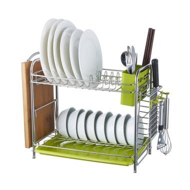 HIAS Basila Dish Rack 2 Layer Storm Rak Piring - Green