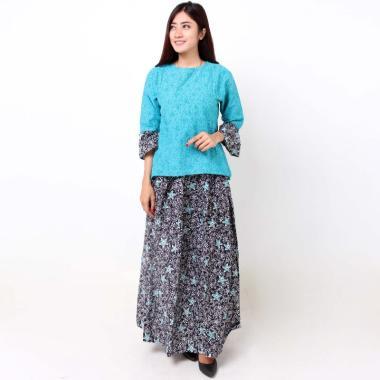 Batik Distro BA8373 Blus Rok Embos Pendek Set Pakaian Wanita - Biru