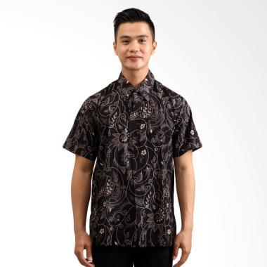 Denbagoes Batik Pakis Hem Lengan Pendek Baju Batik Pria - Hitam